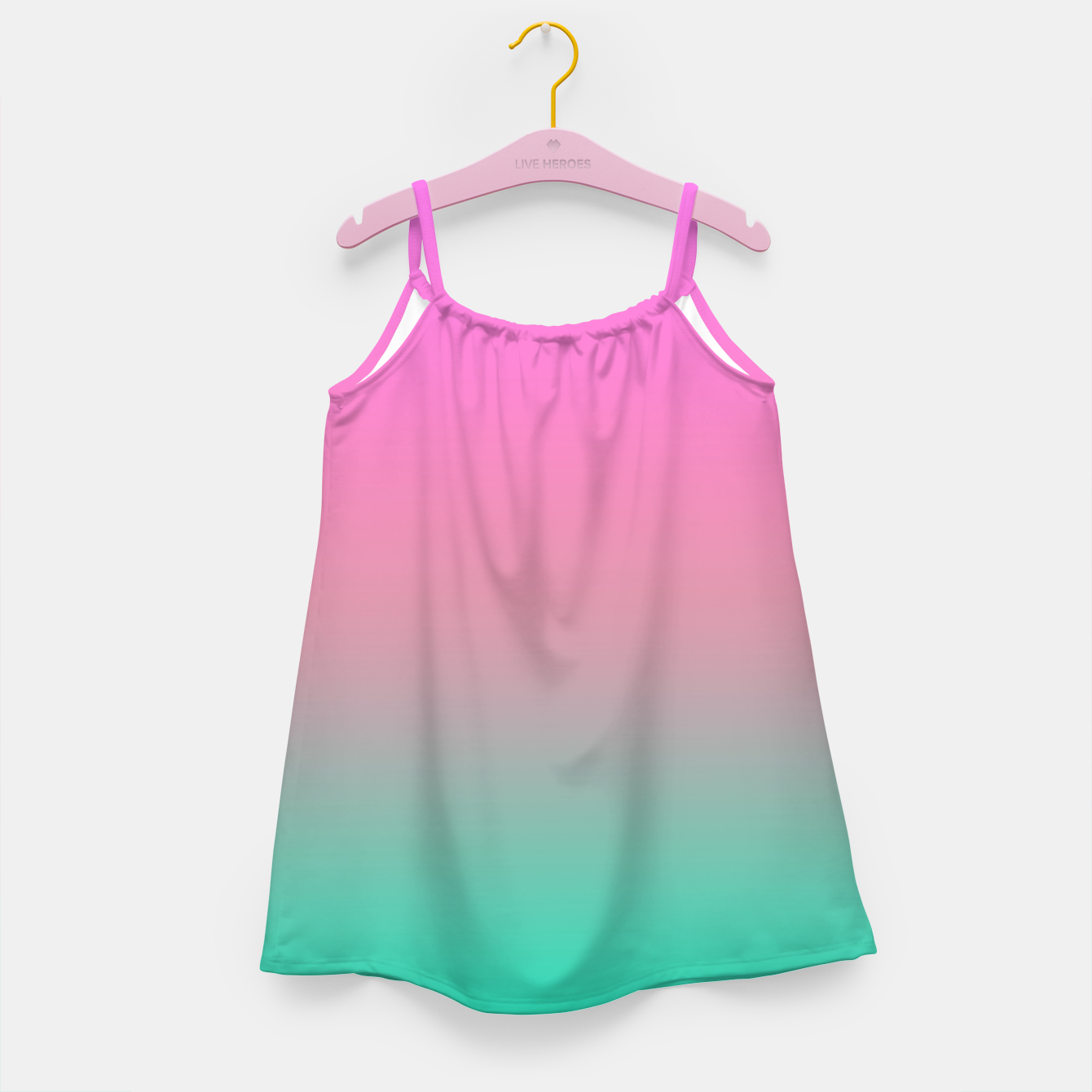 Image of Smooth gradient summer colors fashion simple color pink blue background Girl's dress - Live Heroes