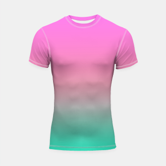 Miniaturka Smooth gradient summer colors fashion simple color pink blue background Shortsleeve rashguard, Live Heroes