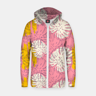 Thumbnail image of Tropical pink brush strokes Sudadera con capucha y cremallera , Live Heroes