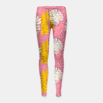 Thumbnail image of Tropical pink brush strokes Leggings para niña, Live Heroes