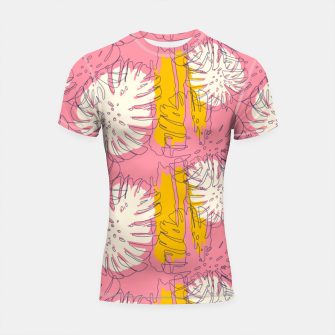 Thumbnail image of Tropical pink brush strokes Shortsleeve rashguard, Live Heroes