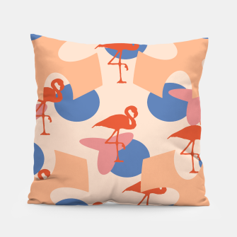 Thumbnail image of Flamingo and leaves pattern coral blue Pillow, Live Heroes