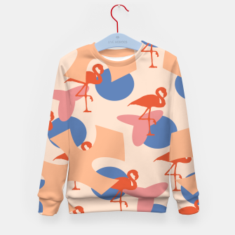 Thumbnail image of Flamingo and leaves pattern coral blue Kid's sweater, Live Heroes