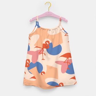 Thumbnail image of Flamingo and leaves pattern coral blue Girl's dress, Live Heroes