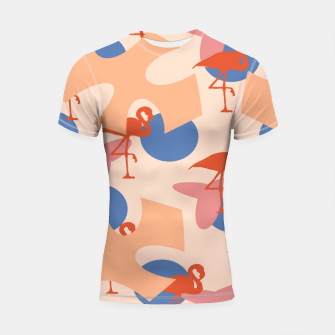 Thumbnail image of Flamingo and leaves pattern coral blue Shortsleeve rashguard, Live Heroes
