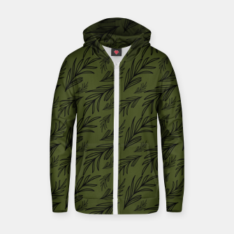 Thumbnail image of Feeling of lightness pattern III - Pine needle green Zip up hoodie, Live Heroes