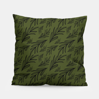 Thumbnail image of Feeling of lightness pattern III - Pine needle green Pillow, Live Heroes