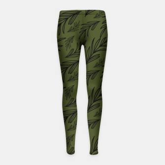 Thumbnail image of Feeling of lightness pattern III - Pine needle green Girl's leggings, Live Heroes