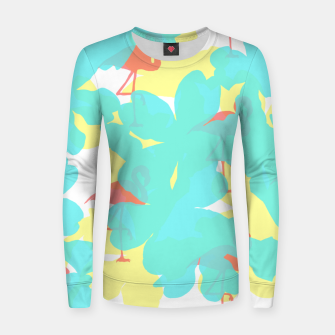 Thumbnail image of Primroses turquoise flamingos coral Women sweater, Live Heroes