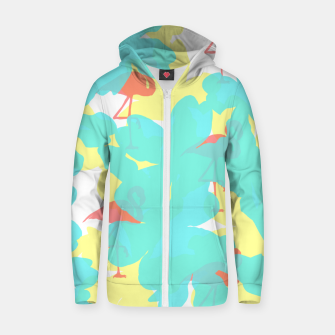 Thumbnail image of Primroses turquoise flamingos coral Zip up hoodie, Live Heroes
