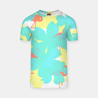 Thumbnail image of Primroses turquoise flamingos coral T-shirt, Live Heroes