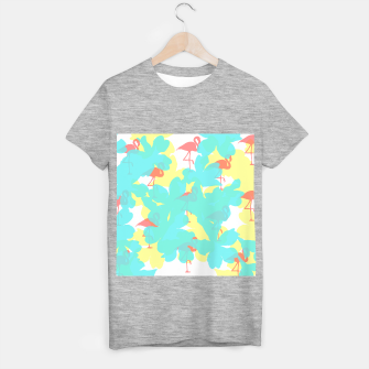 Thumbnail image of Primroses turquoise flamingos coral T-shirt regular, Live Heroes