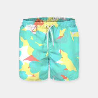 Thumbnail image of Primroses turquoise flamingos coral Swim Shorts, Live Heroes