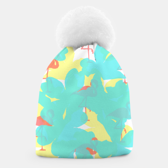 Thumbnail image of Primroses turquoise flamingos coral Beanie, Live Heroes