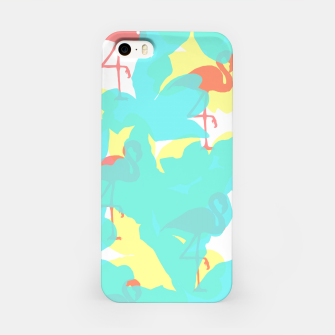 Thumbnail image of Primroses turquoise flamingos coral iPhone Case, Live Heroes