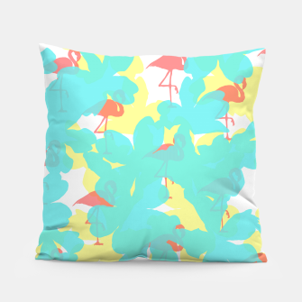 Thumbnail image of Primroses turquoise flamingos coral Pillow, Live Heroes
