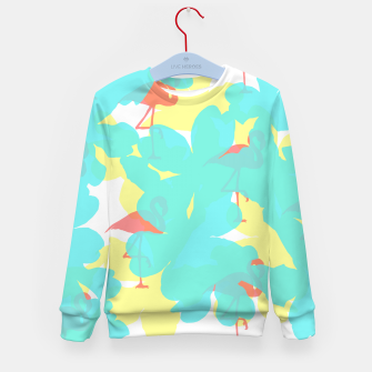 Thumbnail image of Primroses turquoise flamingos coral Kid's sweater, Live Heroes