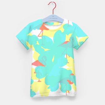 Thumbnail image of Primroses turquoise flamingos coral Kid's t-shirt, Live Heroes