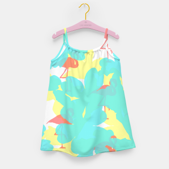 Thumbnail image of Primroses turquoise flamingos coral Girl's dress, Live Heroes
