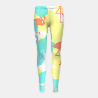 Thumbnail image of Primroses turquoise flamingos coral Girl's leggings, Live Heroes
