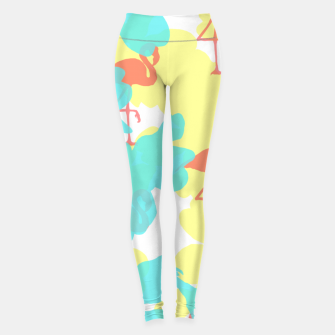 Thumbnail image of Primroses turquoise flamingos coral Leggings, Live Heroes