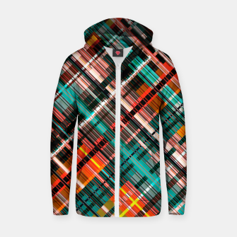 Thumbnail image of Colorful check pattern, color threads  Zip up hoodie, Live Heroes