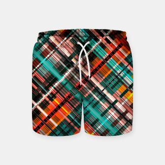 Thumbnail image of Colorful check pattern, color threads  Swim Shorts, Live Heroes