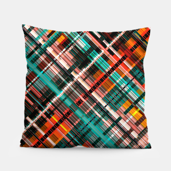 Thumbnail image of Colorful check pattern, color threads  Pillow, Live Heroes