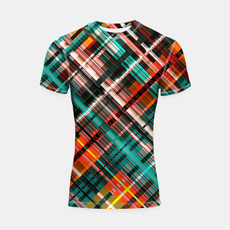 Thumbnail image of Colorful check pattern, color threads  Shortsleeve rashguard, Live Heroes