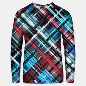 Thumbnail image of Bluish check techno pattern, color lines in blue shades Unisex sweater, Live Heroes