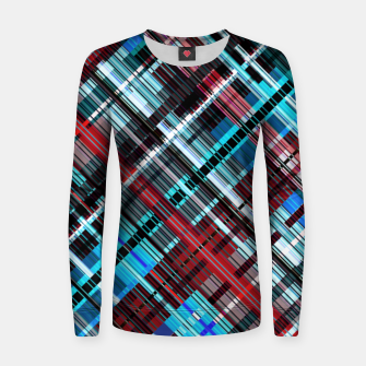 Thumbnail image of Bluish check techno pattern, color lines in blue shades Women sweater, Live Heroes