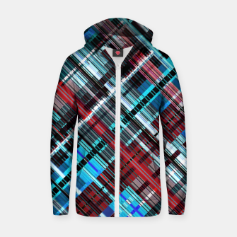 Thumbnail image of Bluish check techno pattern, color lines in blue shades Zip up hoodie, Live Heroes