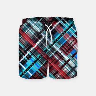 Miniaturka Bluish check techno pattern, color lines in blue shades Swim Shorts, Live Heroes