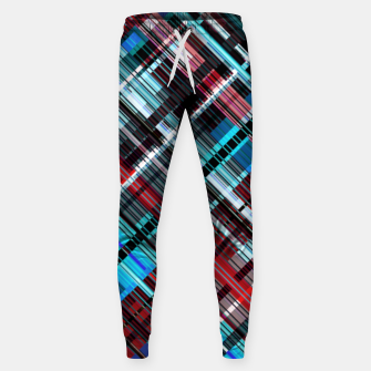 Thumbnail image of Bluish check techno pattern, color lines in blue shades Sweatpants, Live Heroes