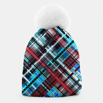 Miniaturka Bluish check techno pattern, color lines in blue shades Beanie, Live Heroes