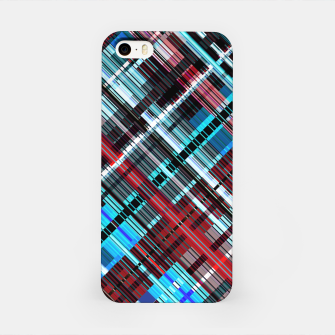 Thumbnail image of Bluish check techno pattern, color lines in blue shades iPhone Case, Live Heroes