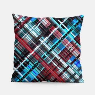 Thumbnail image of Bluish check techno pattern, color lines in blue shades Pillow, Live Heroes