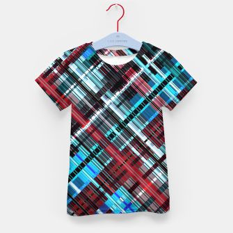 Imagen en miniatura de Bluish check techno pattern, color lines in blue shades Kid's t-shirt, Live Heroes