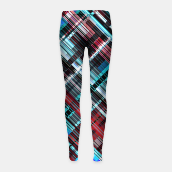 Miniaturka Bluish check techno pattern, color lines in blue shades Girl's leggings, Live Heroes