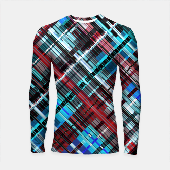 Thumbnail image of Bluish check techno pattern, color lines in blue shades Longsleeve rashguard , Live Heroes