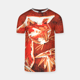 Thumbnail image of Cat smelling flower lino print t shirt, Live Heroes