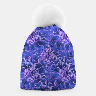 Thumbnail image of Vibrant Blue Flowers Pattern Motif Beanie, Live Heroes