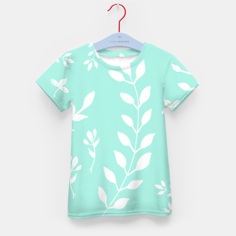 Thumbnail image of White Leaves Pattern #5 #mint #drawing #decor #art T-Shirt für kinder, Live Heroes