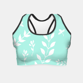 Thumbnail image of White Leaves Pattern #5 #mint #drawing #decor #art Crop Top, Live Heroes