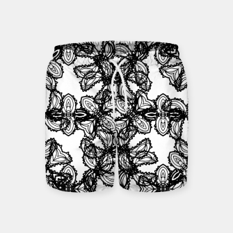 Imagen en miniatura de Stylized Botanical Motif Black and White Print Swim Shorts, Live Heroes