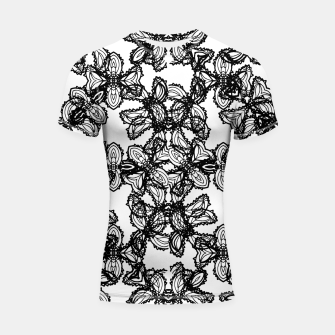 Miniaturka Stylized Botanical Motif Black and White Print Shortsleeve rashguard, Live Heroes
