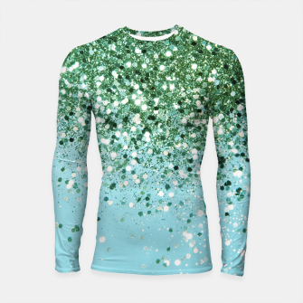 Thumbnail image of Green Blue Summer Glitter #1 (Faux Glitter - Photography) #shiny #decor #art  Longsleeve rashguard, Live Heroes