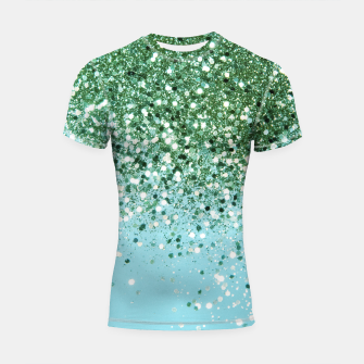 Thumbnail image of Green Blue Summer Glitter #1 (Faux Glitter - Photography) #shiny #decor #art  Shortsleeve rashguard, Live Heroes