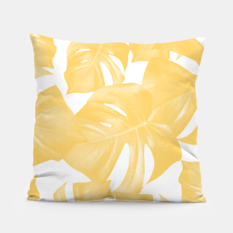 Thumbnail image of Monstera Leaves Yellow Summer Vibes Pattern #1 #tropical #decor #art Kissen, Live Heroes