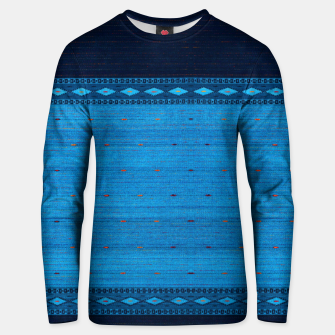 Thumbnail image of Ocean Blue & Indigo Blue North Moroccan Oriental Style Fabric Unisex sweater, Live Heroes